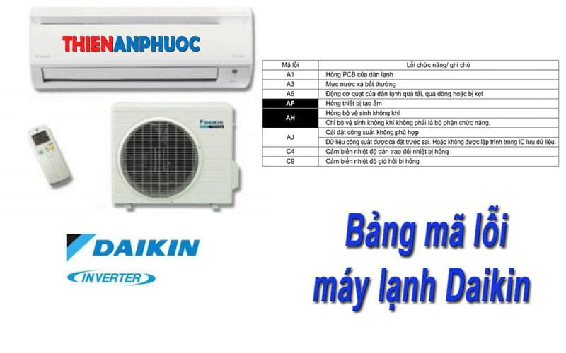 Mã lỗi máy lạnh Daikin – Bảng mã lỗi của dòng điều hòa Daikin