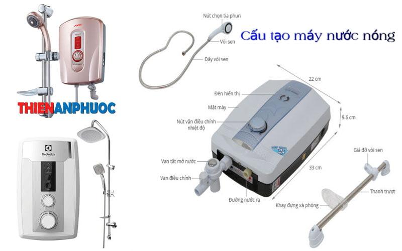 Cấu tạo máy nước nóng trực tiếp các hãng điện lạnh uy tín tại TPHCM